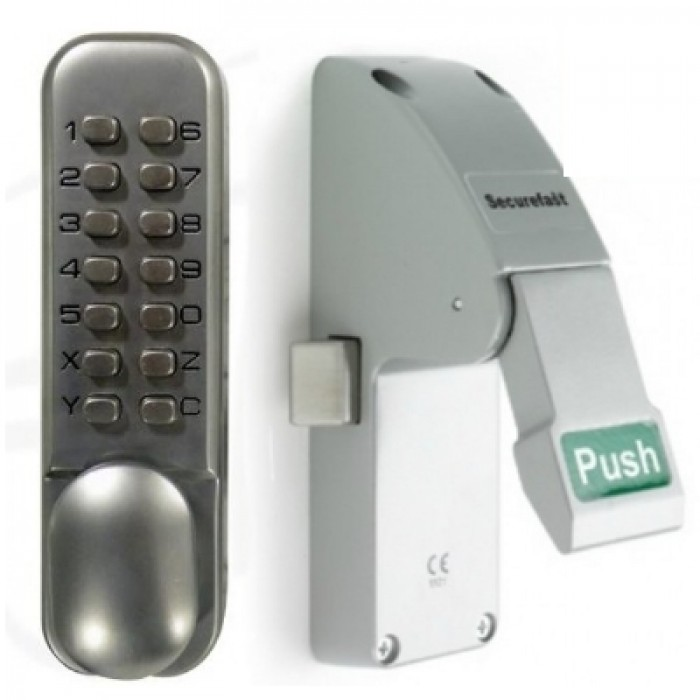 emergency push pad latch with external digital keypad. Black Bedroom Furniture Sets. Home Design Ideas