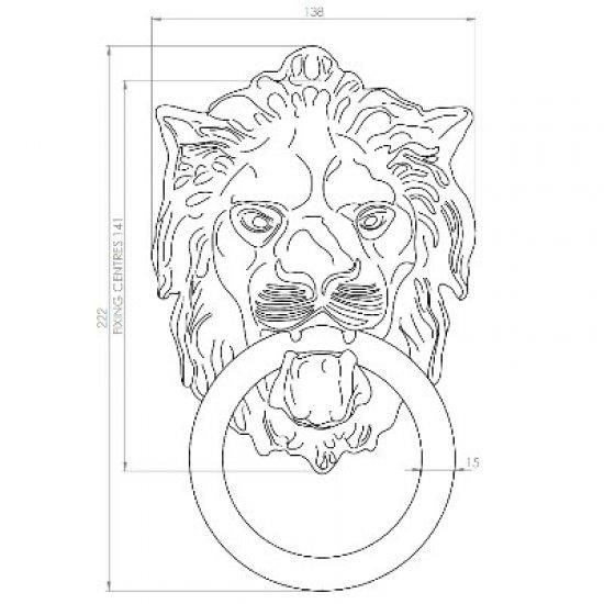 Lion Head Design 254mm Door Knocker