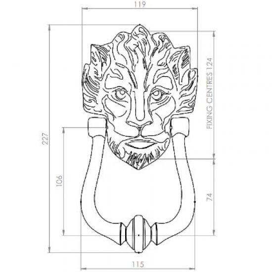 Lion Head Design 229mm Door Knocker