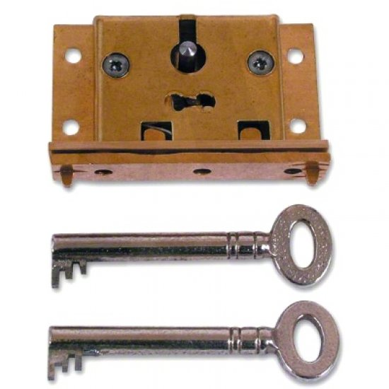64mm RIGHT HAND Asec No.61 2 Lever Cut Cupboard Lock 2 keys brass cabinet drawer