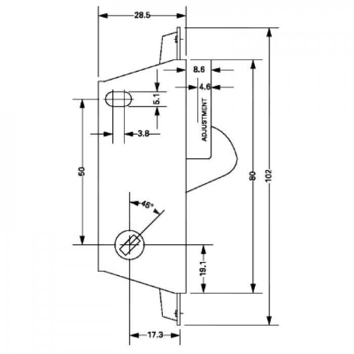 Adams Rite Ms1848 Sliding Door Patio Lock Case