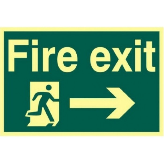 Photoluminescent Fire exit running man arrow right